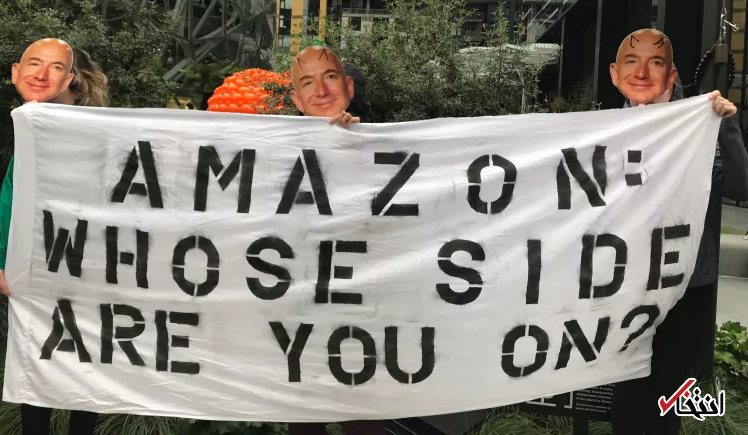 چهره جف بیزوس تبدیل به ماسک هالووین شد، تجمع معترضان در برابر دفتر اصلی شرکت آمازون