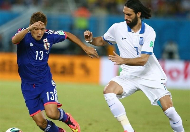 توقف ژاپن مقابل یونان 10 نفره در نیمه اول