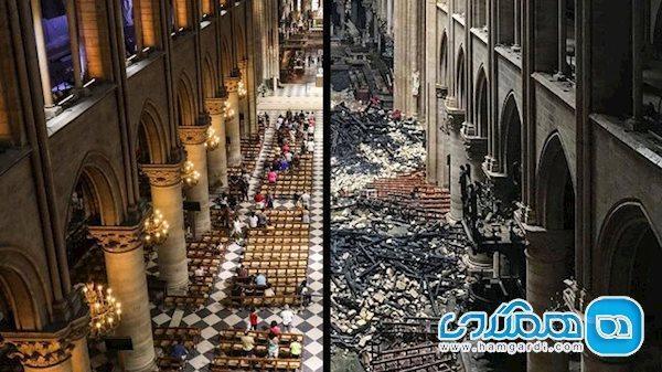 امکان پذیر شدن دیدن نوتردام قبل و بعد از آتش سوزی